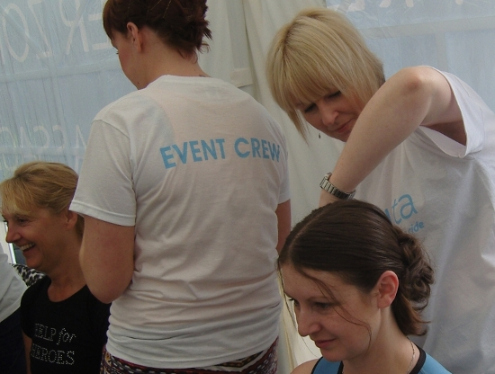 Edge Hair styling a competitor from SkyRide's Cycletta event at Tatton Park...